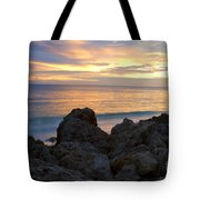 Rocky Shoreline At Sunset Tote Bag
