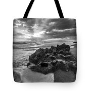 Rocky Surf In Black And White Tote Bag