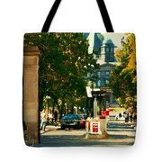 Roddick Gates Painting Mcgill University Art Students Stroll The Grand Montreal Campus C Spandau Tote Bag