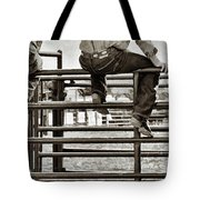Rodeo Fence Sitters- Sepia Tote Bag