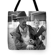 Rodeo Gunslinger With Saloon Girls Bw Tote Bag