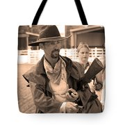 Rodeo Gunslinger With Saloon Girls Sepia Tote Bag
