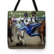 Rodeo Steer Wrestling Tote Bag
