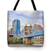 Roebling Bridge And Downtown Cincinnati 9850 Tote Bag