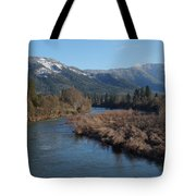 Rogue River And Mt Baldy In Winter Tote Bag