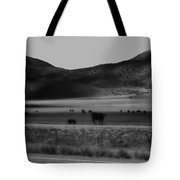 Rolling Hills And Cattle In Black And White Tote Bag