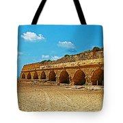 Roman Aqueduct From Mount Carmel 12 Km Away To Mediterranean Shore In Caesarea-israel  Tote Bag