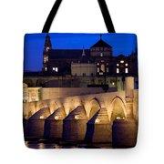 Roman Bridge And Mezquita In Cordoba At Dawn Tote Bag