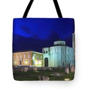 Roman Forum And St Donatus Church At Night Zadar Croatia Tote Bag