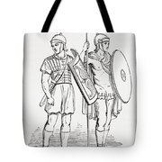 Roman Infantry Soldiers, After Figures On Trajans Column.  From The Imperial Bible Dictionary Tote Bag