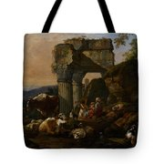 Roman Landscape With Cattle And Shepherds Tote Bag by Johann Heinrich Roos