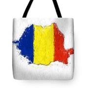 Romania Painted Flag Map Tote Bag