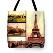 Romantic Paris Sunset Collage Tote Bag