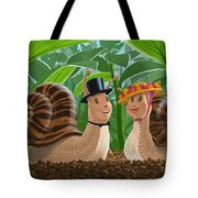 Romantic Snails On A Date Tote Bag