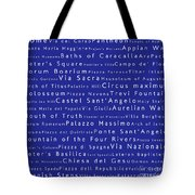 Rome In Words Blue Tote Bag