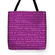 Rome In Words Pink Tote Bag