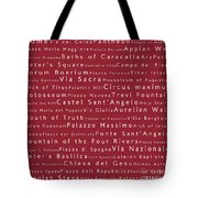 Rome In Words Red Tote Bag