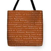 Rome In Words Toffee Tote Bag