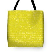 Rome In Words Yellow Tote Bag