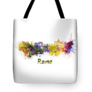 Rome Skyline In Watercolor Tote Bag