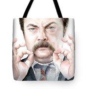 Ron Swanson Mustache Portrait Tote Bag