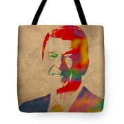 Ronald Reagan Watercolor Portrait On Worn Distressed Canvas Tote Bag
