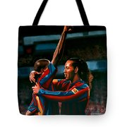 Ronaldinho And Eto'o Tote Bag