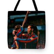 Ronaldinho And Eto'o Tote Bag