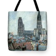 Roofs Of Old Rouen Grey Weather  Tote Bag