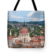 Rooftop Of Parliament Building In Budapest Tote Bag