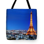 Rooftop View On The Eiffel Tower Tote Bag