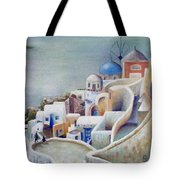 Rooftops And Terraces Of Santorini Island In Greece Tote Bag