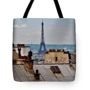 Rooftops Of Paris And Eiffel Tower Tote Bag