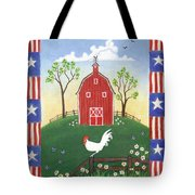 Rooster Americana Tote Bag by Linda Mears