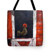 Rooster In Window Tote Bag