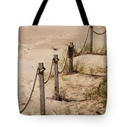 Rope And Wooden Fence Tote Bag