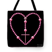Rosary With Pink And Purple Beads Tote Bag