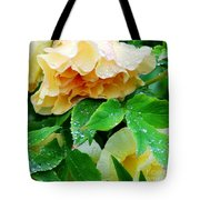 Rose And Leaves On A Rainy Day Tote Bag