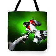 Rose Breasted Grosbeak Landing Tote Bag