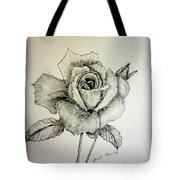 Rose In Monotone Tote Bag