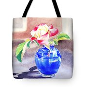 Rose In The Blue Vase  Tote Bag