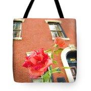 Rose On Brownstone Tote Bag