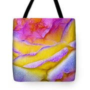 Rose With Dew Drops In Candy Colors Tote Bag