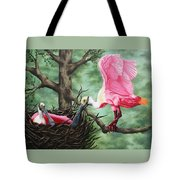 Roseate Spoonbill Nesters  Tote Bag
