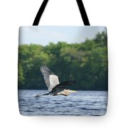 Roseland Lake Great Blue Heron Fly By  Tote Bag