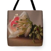 Roses And Baby's Breath Tote Bag