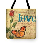 Roses And Butterflies 2 Tote Bag