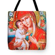 Roses And Holy Family Tote Bag