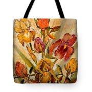 Roses And Irises Tote Bag