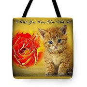 Roses And Kittens Textured Tote Bag